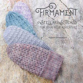 Photo of the cover of Firmament book, with 4 textured hats in soft shades of blue and purple