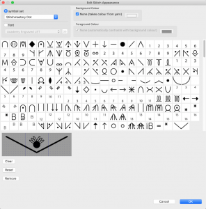 Image of Edit Stitch Appearance dialog showing some of the symbols available for custom stitches